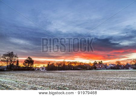 Sunrise In A Suburb Of Munich With Chinool Winds