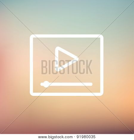 Play button with fast forward icon thin line for web and mobile, modern minimalistic flat design. Vector white icon on gradient mesh background.