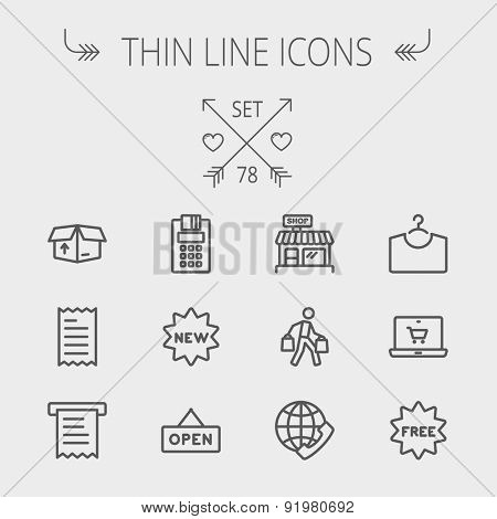 Business shopping thin line icon set for web and mobile. Set includes- electronic calculator, new tag, open sign, box, paper towel, shop, internet shopping, free tag icons. Modern minimalistic flat