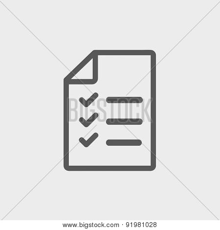 Checklist icon thin line for web and mobile, modern minimalistic flat design. Vector dark grey icon on light grey background.