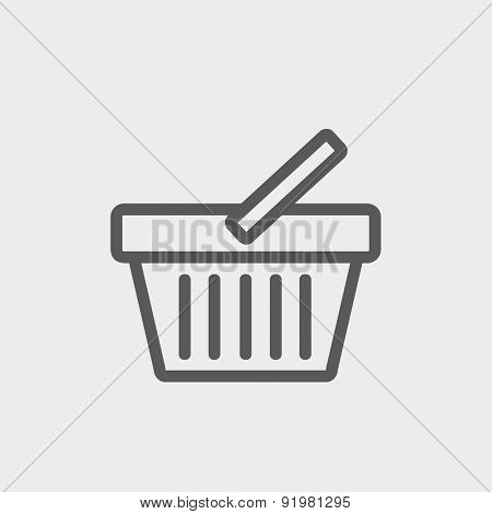 Shopping basket icon thin line for web and mobile, modern minimalistic flat design. Vector dark grey icon on light grey background.