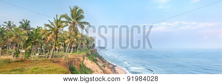 India, Kerala, Varkala beach cliff