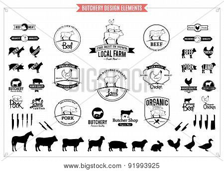 Butchery Labels, Charts and Design Elements