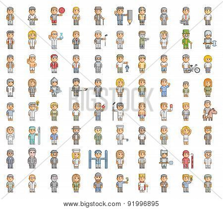 Pixel set of people