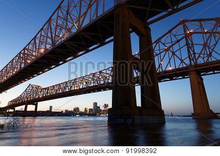 The Crescent City Connection Bridge at the blue hour