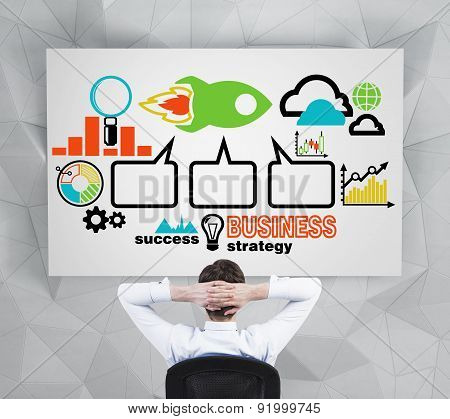 Relaxing Manager Is Thinking How To Imply Successful Business Strategy. Colourful Business Icons Are