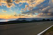 Beautiful coastal road at sunset in croatia poster