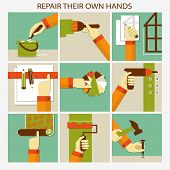 Repair their own hands. Set of home remodeling poster