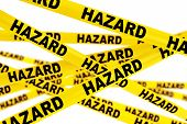 Hazard Yellow Tape Strips on a white background poster