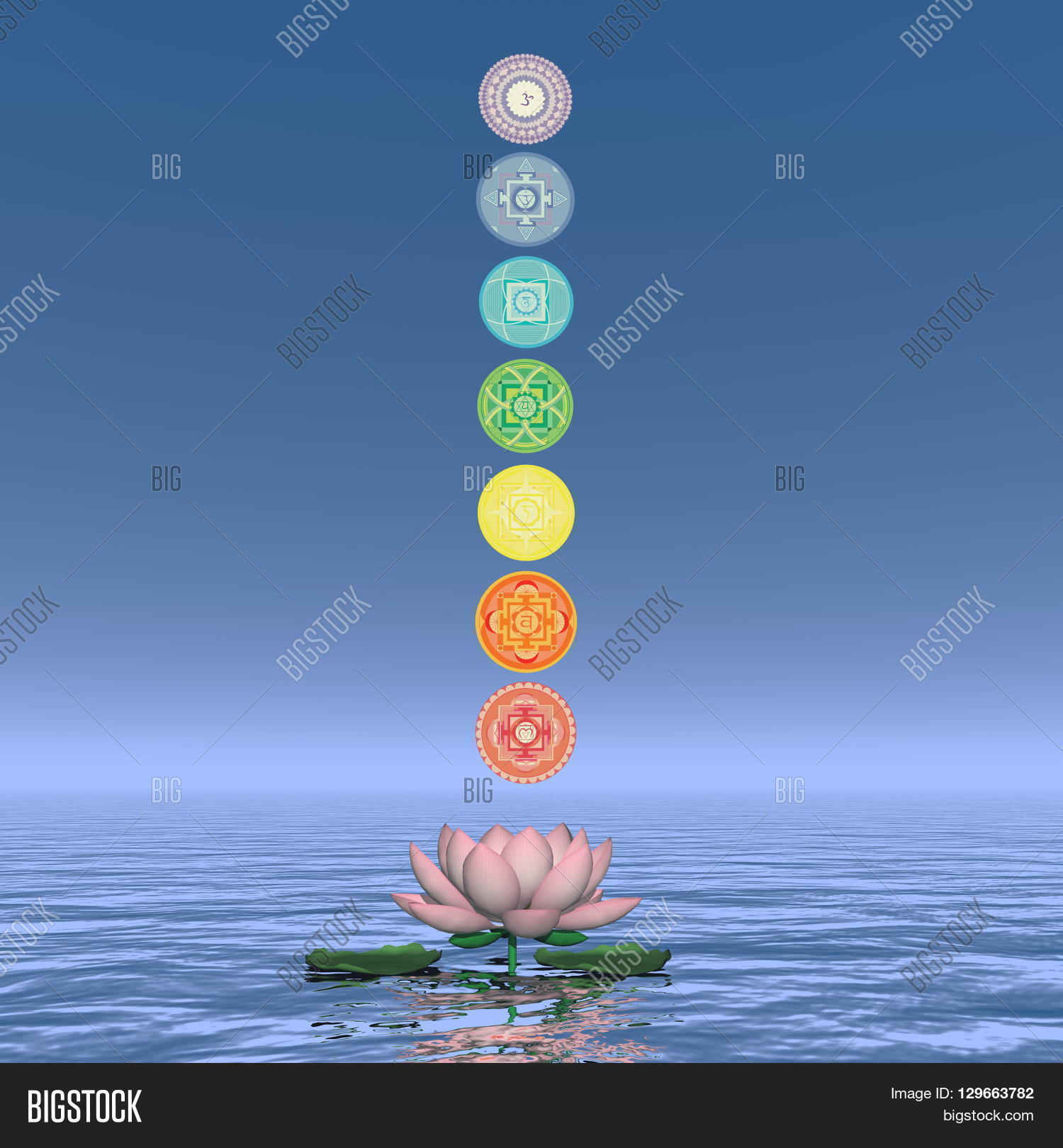 Seven chakra symbols image photo free trial bigstock seven chakra symbols column upon one lotus flower and water in blue background 3d render izmirmasajfo