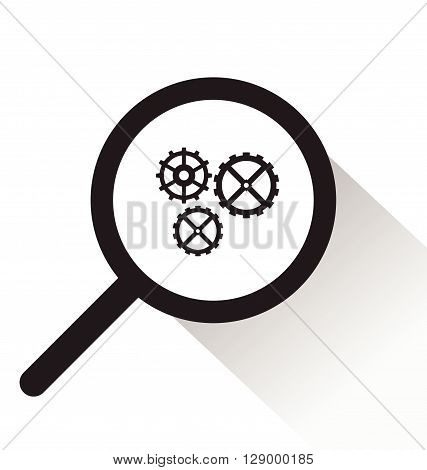 vector magnifying glass with Gear icon on white background