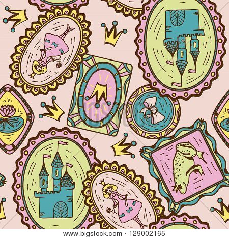 Seamless pattern with hand drawn  princess, frog and castle on rose background