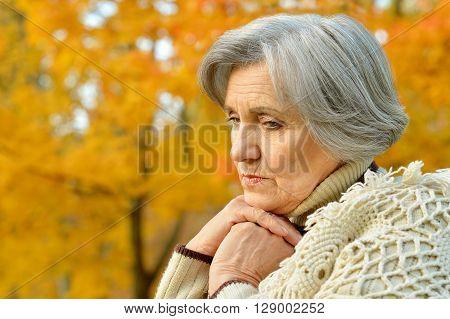 Nice sad old woman on the autumn background