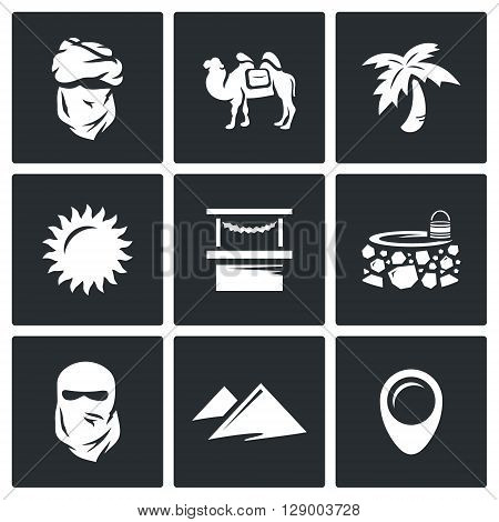 Vector Set of Middle East Icons. Arab, Camel, Palm, Sun, Market, Well, Veil, Desert, Pointer.
