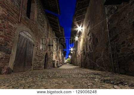 View form the inside of the Medieval village of Ricetto di Candelo in Piedmont used as a refuge in times of attack during the Middle Age.