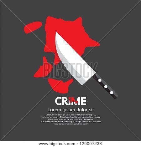 Bloody Knife Crime Concept Vector Illustration. EPS 10