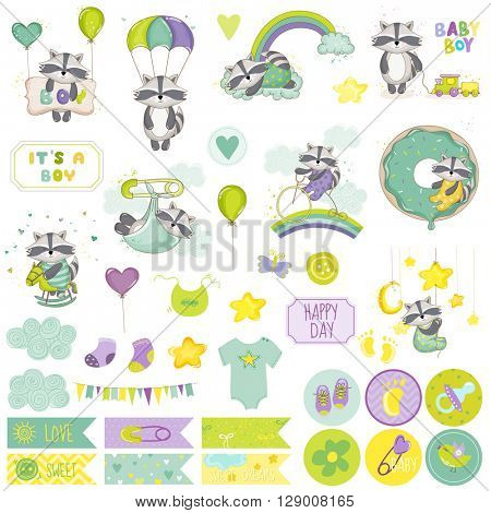 Baby Boy Raccoon Scrapbook Set. Vector Scrapbooking. Decorative Elements. Baby Tags. Baby Labels. Stickers. Notes.