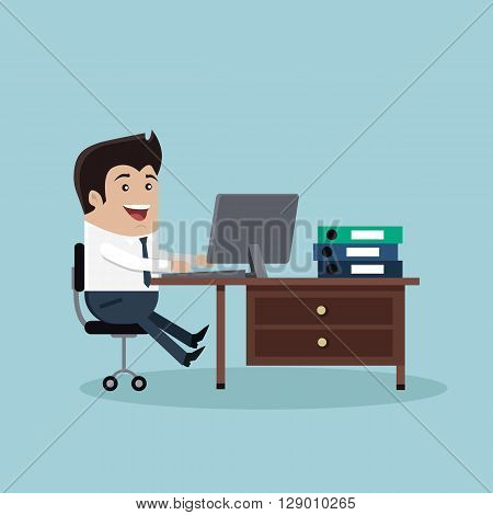 Man sitting on chair at table in front of computer monitor. Man work with computer laptop design flat. Computer and business man worker, man in office desk, businessman person at table workplace