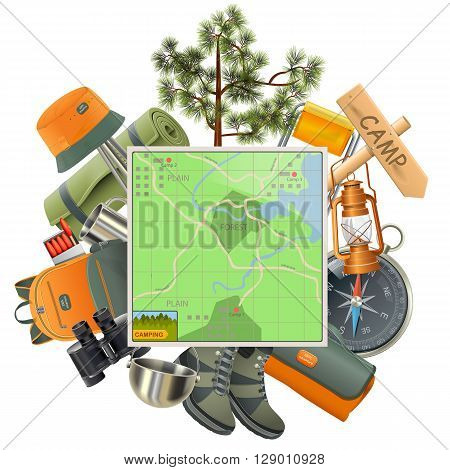 Vector Camping Concept with Map isolated on white background
