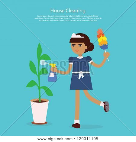House cleaning template web page. Young girl or woman working in a maid uniform sprinkles water on the home flower isolated on background flat style. Home cleaning services  Vector illustration