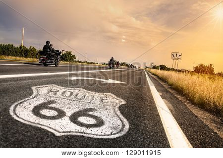 Route 66 road sign in Arizona ouest america, USA