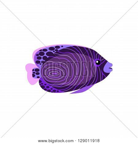 Chaetodon larvatus ocean fish icon. Beautifully painted fish living in ocean or sea with tail and fin. Creating living under water with a purple color isolated on white background. Vector illustration