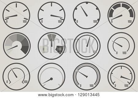 Gauge meter icons sets. Infographic and progress bar design elements.
