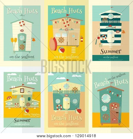 Beach Huts on Seafront Mini Posters Set. Summer Poster. Advertisement for Family Summer Vacation in Beach Houses. Vector Illustration.