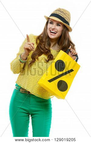 Smiling Woman In Hat Showing Shopping Bag And Pointing Aside