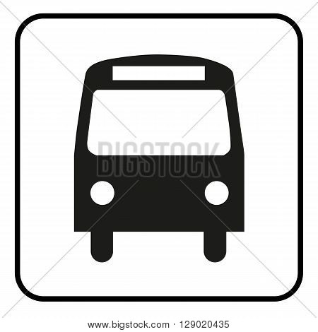 a black and white icon of a bus stop or a bus station