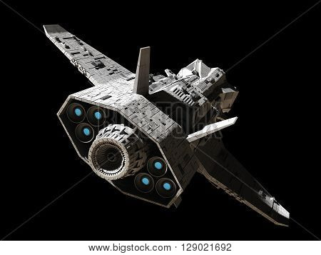 Science fiction illustration of an interplanetary gunship, isolated on black, rear angled view with blue engine glow, 3d digitally rendered illustration (3d rendering, 3d illustration)