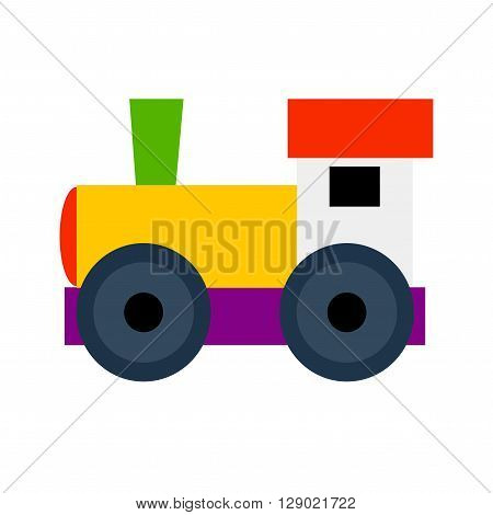 Little engine on white background. Isolated train. Cute toy train. Train for kids. Colorful vector train.