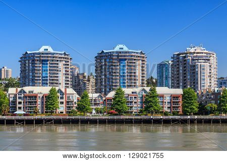 Residential area in New Westminster British Columbia Canada