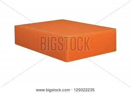 Orange Carwash Sponge Isolated On White Background