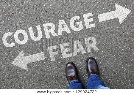 Courage And Fear Risk Safety Future Strength Strong Business Man Concept Businessman