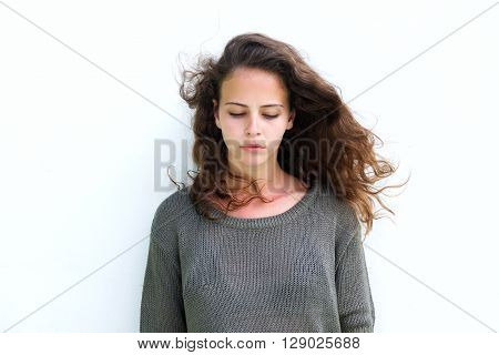 Attractive Woman With Long Brown Hair Looking Down