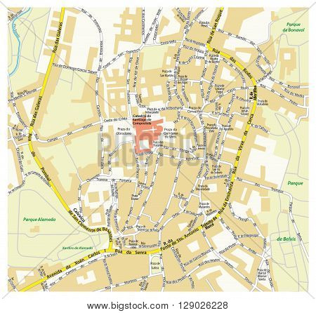downtown map the Galician capital of Santiago de Compostela, Spain