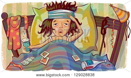 Woman with hangover lying in bed after party. Young woman with a headache holding a glass of water. Creative illustration.