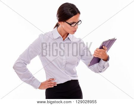 Stressed Brunette Businesswoman Using A Tablet