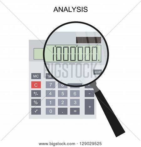 Calculator and magnifying glass. Flat style. Million. The financial calculation. Vector illustration.