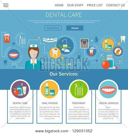 Dental Care Page. Dental Care Design. Dental Care Vector Illustration