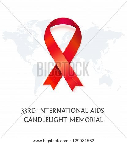 AIDS Awareness red vector ribbon, symbol of AIDS memorial day with word map isolated on white. AIDS ribbon. Realistic vector illustration of awareness ribbon for AIDS candlelight memorial day
