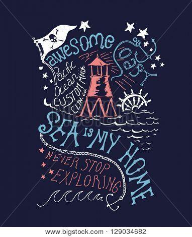 sailor, ocean typography illustration for apparel