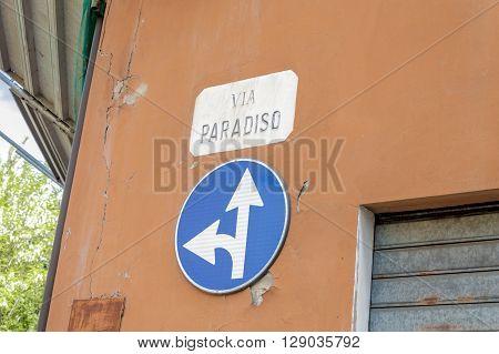 Italy - Forlì town. The streetsign of Via del Paradiso (Heaven Street)
