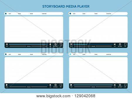 Storyboard media player. Video storyboard design template