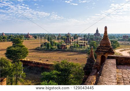 Myanmar Bagan the plain with thousand of 880-year old temple ruins.