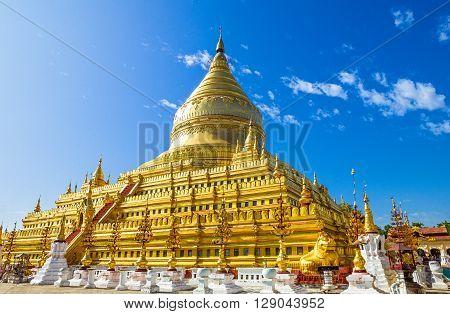 Myanmar Bagan the main pagoda of the Kuthodaw temple.
