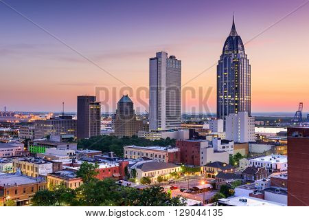 Mobile, Alabama, USA downtown skyline.