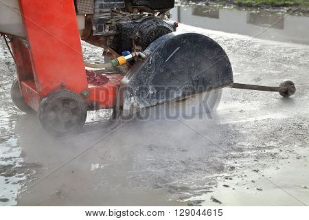 Construction Site, Asphalt Cutting Tool At Road Construction Site