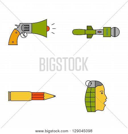 Information war icon set. Information war concept. Media manipulation concept. News spread concept. Flat, thin line design. EPS 10.